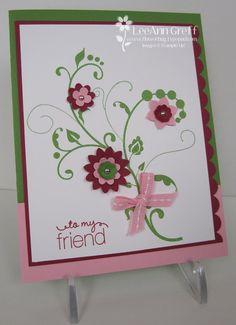 One of my favorite new color combinations - Raspberry Ripple, Gumball Green and Pretty in Pink.   SU, LeeAnn Greff