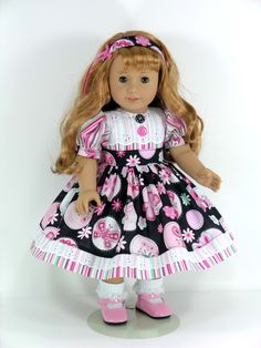 Handmade Clothes For American Girl Doll - Dress, Headband, Pantaloons - Butterflies, Stripe - Exclusively Linda Doll Clothes