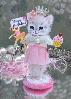 Vintage Kitty Birthday Craft. SaturdayFinds blog