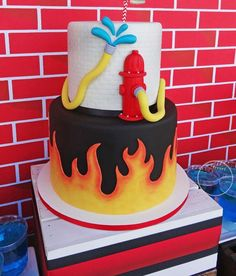 This Modern Firetruck Party Birthday Cake is on fire!!! See more party ideas at CatchMyParty.com