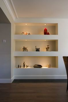 Amazing wall niche ideas - Home Page Alcove Shelving, Recessed Shelves, Wall Shelving, Alcove Cupboards, Built In Wall Shelves, Ceiling Storage, Bookcase Wall, Shelving Ideas, Cupboard Doors