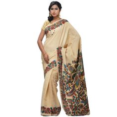 Cream Kalamkari Cotton Silk with Hand Painted Pallu and Border Design kl0022