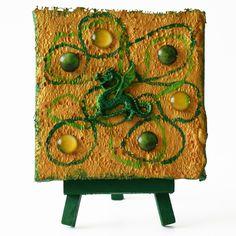 Green dragon (Zöld sárkány) - 10 x 10 cm (10 x 14 cm), 2018 #paverpol #textile #textil #acrylic #akril #vivienholl #dragon #sárkány Techno, Planter Pots, Dragon, Dragons, Techno Music