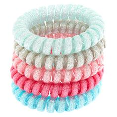 Make your wrists arms sparkle & shine with these fun bracelets. The stretch fit coil bracelets all have a glitter finish and come in 5 different colors. Coil Bracelets by Claire's ClubFinish: Glitter Pack Size: 5 Material: Plastic Suitable for ages Claire's Accessories, Girls Hair Accessories, Hair Rubber Bands, Hair Tie Bracelet, Diy Crafts For Girls, Accesorios Casual, Cute Bracelets, Hair Ties, Girly Things