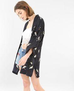 Giacca kimono satinata blu scuro