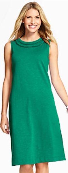 Talbots - Crochet-Trimmed Shift Dress - Tourmaline Green