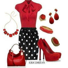 Love the polka dot skirt! The pop of red is so stylish! Office Fashion, Work Fashion, Fashion Outfits, Womens Fashion, Classy Outfits, Cute Outfits, Black White Striped Dress, Shower Outfits, Mode Inspiration