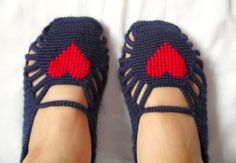 Turkish Home Slippers - Red Heart