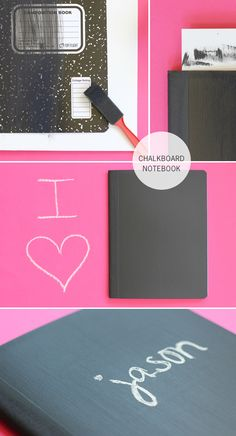 DIY: chalkboard notebook. Would be so entertaining!