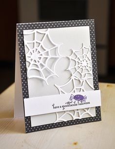 Spooktacular Cobweb Card by Maile Belles for Papertrey Ink (August 2012)