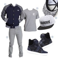 1. Wavy Crooks Baseball Varsity Jacket by Crooks & Castles 2. Slim Fit Twill Pants by WT02 3. Tee by Crooks & Castles 4. Sureno Snapback Hat by Crooks & Castles 5. Propulsion Hi Top Sneakers by Android Homme