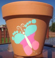 Butterfly-Footprint-Flower-Pot | DIY Mothers Day Crafts for Grandma | DIY Gifts for Mom for Christmas