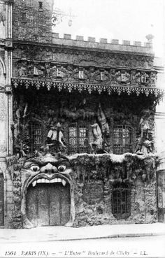 """1800s-1900s Cabaret L'Enfer, Paris  The Cabaret L'Enfer (Hell) was in Montmartre on the Boulevard de Clichy, a stone's throw from the Moulin Rouge. It was one of the world's first """"theme"""" clubs, albeit a Satanic theme. Photo by Atget."""