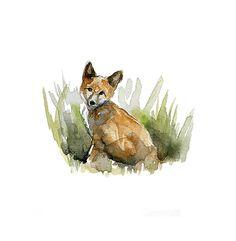 Aquarel vos  Giclee Print  Dier Schilderij vosje  door Zendrawing, €15.50