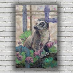 """""""Dreaming Lemur"""" $650. Original painting on 36"""" inch canvas by me, Roger Seward. Browse available, original canvases at my shop! Thanks for looking!"""