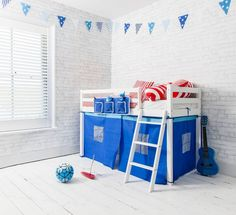 Brilliant Blue Ontario Midsleeper Shorty Cabin Bed in Blue | £119.99 | #CabinBed #KidsBed #HomeDecor