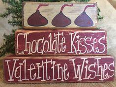 Primitive Country Chocolate Kisses Valentine Wishes Shelf Sitter Wood Block Set  #CountryPrimitiveRustic #DoughandSplinters