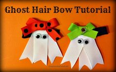 Oh my cuteness! This ghost hair hair bow tutorial is awesome. Step by step directions.  This goes on the must make list! #halloween #craft #diy #hairbow