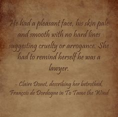 Claire's description of her betrothed Pale Skin