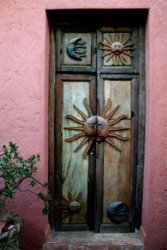 Sun Door of the Casita San Miguel de Allende, in Mexico Cool Doors, Unique Doors, Entrance Doors, Doorway, Grand Entrance, Front Doors, When One Door Closes, Knobs And Knockers, Door Gate