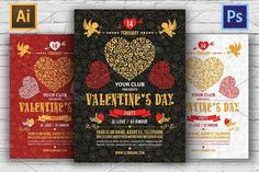 Best Valentine's Day Party Flyers CreativeWork247 - Fonts, Graphics, Them...