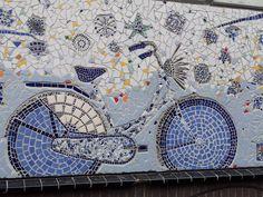 Delft Blue bike mural in Delft