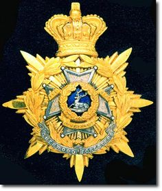 British Empire: Armed Forces: Units: British Infantry: The Sherwood Foresters (Nottinghamshire and Derbyshire Regiment) Officer's Helmet Badge 1881 - 1901 Prior to 1881 most regiments of foot used numbers on their badges as was the case for the 45th and 95th but on the regimental badge here a lodged stag has been adopted as the symbol together with the Maltese Cross of the old 95th. The silver scroll at the base of the badge has SHERWOOD FORESTERS