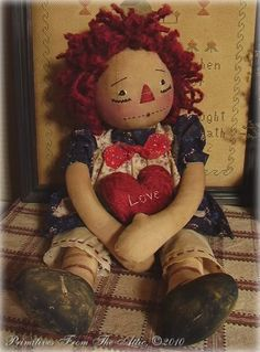 Photo by Wendy Turner Making Dolls, Raggedy Ann And Andy, Bear Doll, Old Dolls, Valentine Decorations, Doll Face, Flower Crafts, Cartoon Drawings, Beautiful Dolls