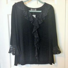 Slinky Brand Knit Black Ruffled Lace Tunic Top Size XL NEW WITH TAG  #SlinkyBrand #KnitTop #Any