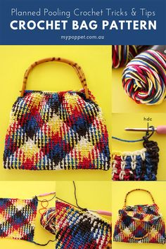 Crochet Bags Pattern Planned Pooling Crochet Bag Planned Pooling Tips - Planned Pooling Crochet Bag Planned Pooling Tips Crochet Handbags, Crochet Purses, Crochet Bags, Crochet Stitches Patterns, Purse Patterns, Tote Pattern, Sewing Patterns, Crochet World, Diy Crochet
