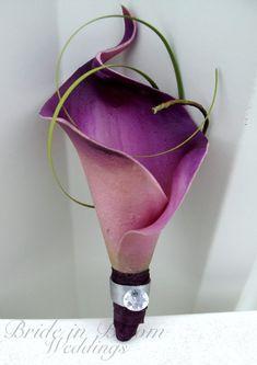 Groomsmen boutonniere Plum purple gray by BrideinBloomWeddings,