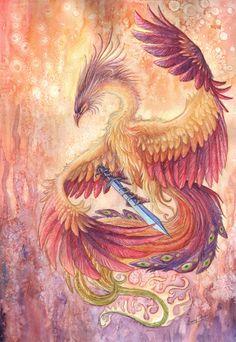 The phoenix's sword by Sunimo.deviantart.com on @deviantART Tags: phoenix fantasy creature watercolor art sunimo fire flames