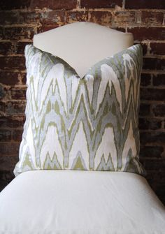 """Ikat - Green and Bronze Hand Print on Natural Linen - Pillow Cover - 20""""x20"""""""