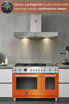 Confident, contrasting colors are a top kitchen design trend. Choose a Bertazzoni Professional Series range that reflects your own personality.