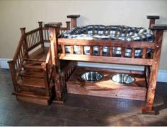 Awesome dog bunk-bed with bowls underneath. How could your furry friend not love this??