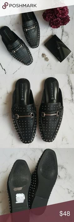 Steve Madden Studded Loafer Mules Amazing new without box black loafer mules with silver studs from Steven Steve Madden.  Faux leather.  Size 6. Steven By Steve Madden Shoes Mules & Clogs