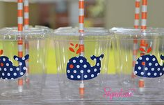 Whale Birthday Party Cups-Navy White Polka Dot Party Cups-Set of 12