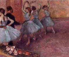 Dancers in Light Blue (Rehearsing in the Dance Studio), Edgar Degas  Medium: oil on canvas