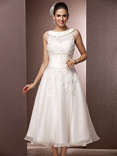 Wedding Dress A Line Tea Length Organza Sweetheart Bateau With Sashes and Appliques - USD $ 109.99