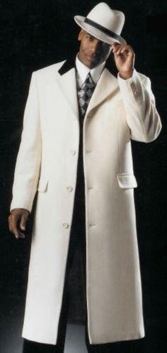 SKU#MK712 Mens White with Black Velvet Collar Overcoat ~ Topcoats in Cashmere Blend