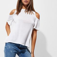 White cold shoulder wrap back top Trendy Clothing, Trendy Outfits, Cable Knit Cardigan, Fashion Forward, Cold Shoulder, Knitwear, Lady, Clothes, Collection