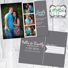Modern, Simple 4 Photo, Pink, Mint & Gray Save the Date Announcement Postcard (Digital Files) by jojosdesigns on Etsy