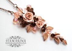 Polymer clay floral pendant necklace Nostalgia with by Stamarina
