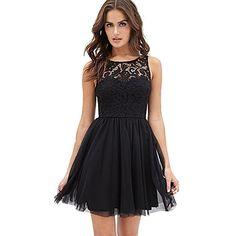 Bekleidung Longra Damen ärmellose Spitzen rückenfreies Kleid Mädchen Sommer Ballkleid Abendkleider Cocktailkleider (Asian S, Black)