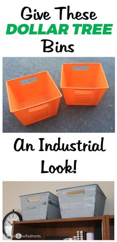 Give Dollar Tree Bins an Industrial Look | Brass and Whatnots