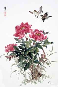 Peonies and Sparrows by Virgina Davis.