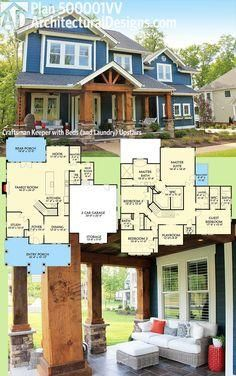 Introducing Architectural Designs House Plan 500001VV. This 4 bed Craftsman gives you all the beds upstairs - and puts the laundry there as well - leaving the downstairs for gathering with family and friends. Ready when you are. Where do YOU want to build? Specs-at-a-glance 4 beds 3.5 baths 3,500  sq. ft.