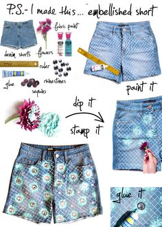 P.S.- I made this... Embellished Short  #DIY #cutoffs #summer