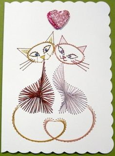 Stitched card valentine card