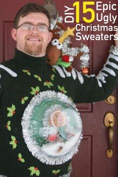 Learn how to make an uncommon DIY ugly Christmas sweater with this Snow Globe DIY Ugly Sweater tutorial. By using a clear plastic bowl, you will give the illusion of a snow globe bursting out of the front of your homemade ugly Christmas sweater. Tacky Christmas Party, Christmas Costumes, Christmas Games, Christmas Humor, Holiday Fun, Christmas Crafts, Funny Christmas Outfits, Festive, Christmas Decorations